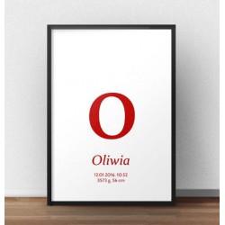 Plakat metryczka dla dziecka - Mała literka - kolor czerwony
