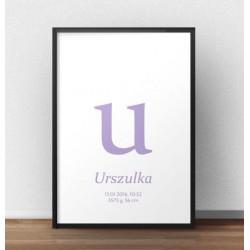 Plakat metryczka dla dziecka - Mała literka - kolor wrzosowy