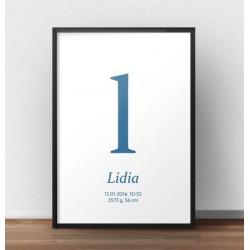Plakat metryczka dla dziecka - Mała literka - kolor niebieski