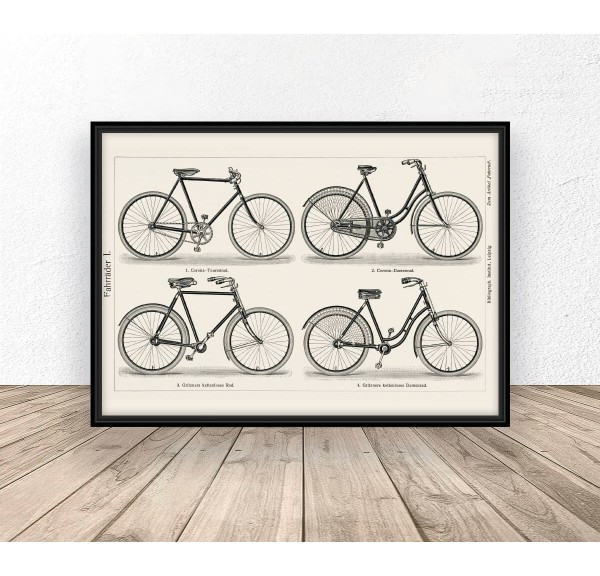 Poziomy plakat z rowerami w stylu retro