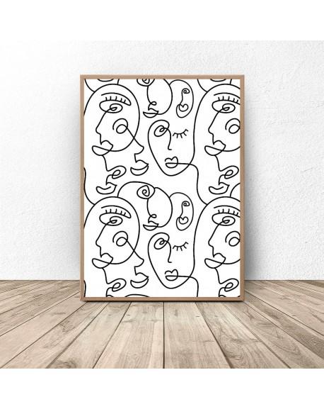 """Plakat stylizowany """"Postacie"""" Picasso"""