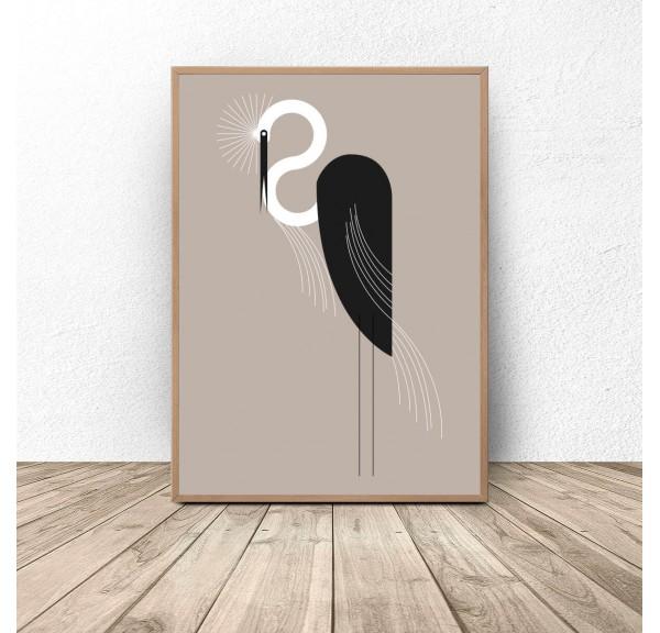 Plakat z ptakiem Czarna czapla