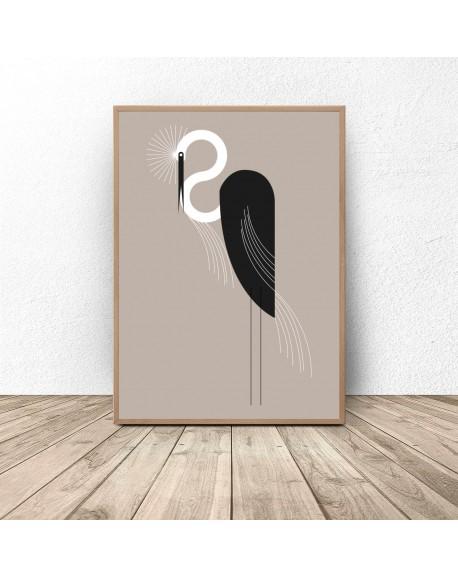 """Plakat z ptakiem """"Czarna czapla"""""""