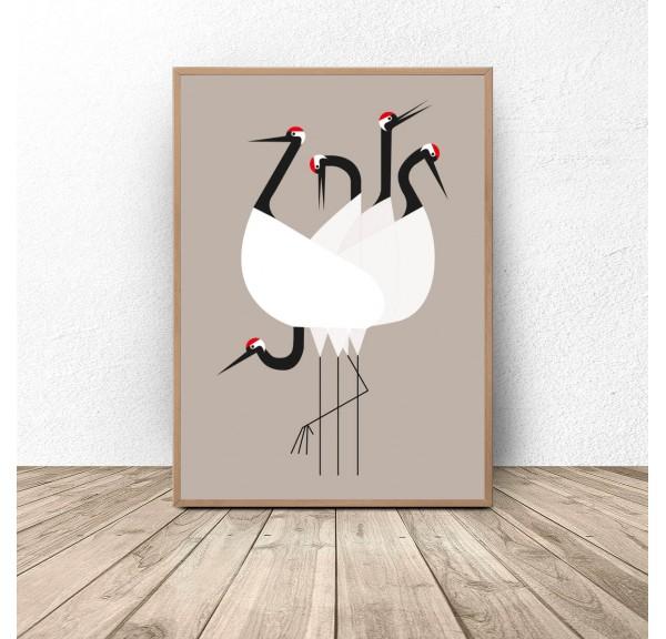 Plakat dekoracyjny Grupa czapli