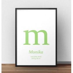 Plakat metryczka dla dziecka - Mała literka - kolor zielony