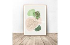 Plakat Geometryczna kompozycja z liściem monstery