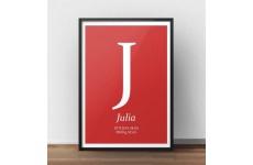 Plakat metryczka dla dziecka z czerwonym tłem i dużą literką