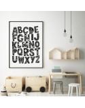 Plakat dla dzieci Wzorzysty alfabet