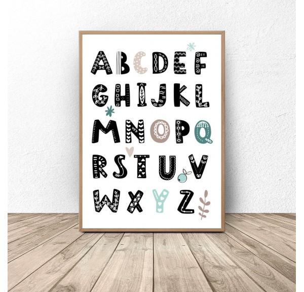Plakat z alfabetem Miętowe literki