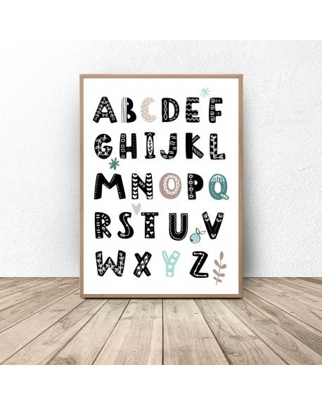"Plakat z alfabetem ""Miętowe literki"""