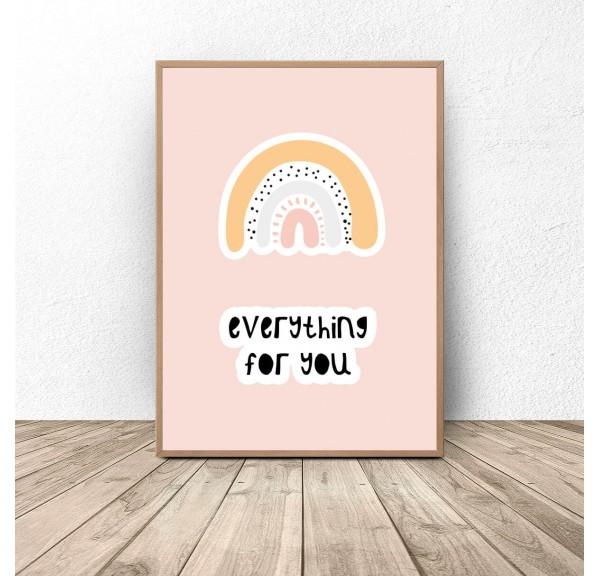 Plakat dla dzieci z tęczą Everything for you