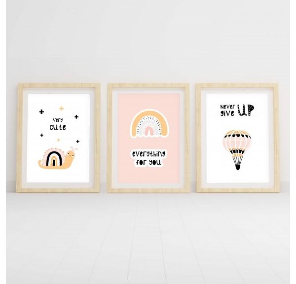 Zestaw trzech plakatów do pokoju dziecka Różowy