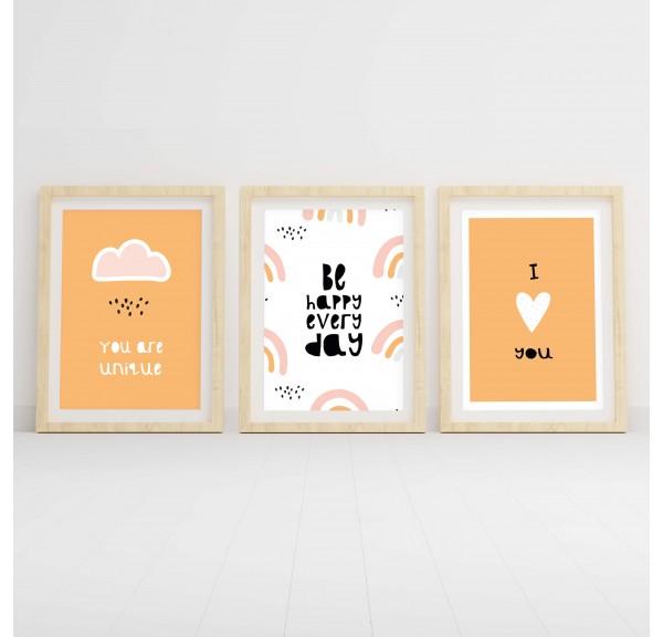 Zestaw trzech plakatów do pokoju dziecka Pomarańczowy