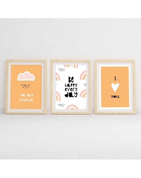 """Zestaw trzech plakatów do pokoju dziecka """"Pomarańczowy"""""""