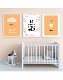 Zestaw trzech plakatów do pokoju dziecka Pomarańczowy 2