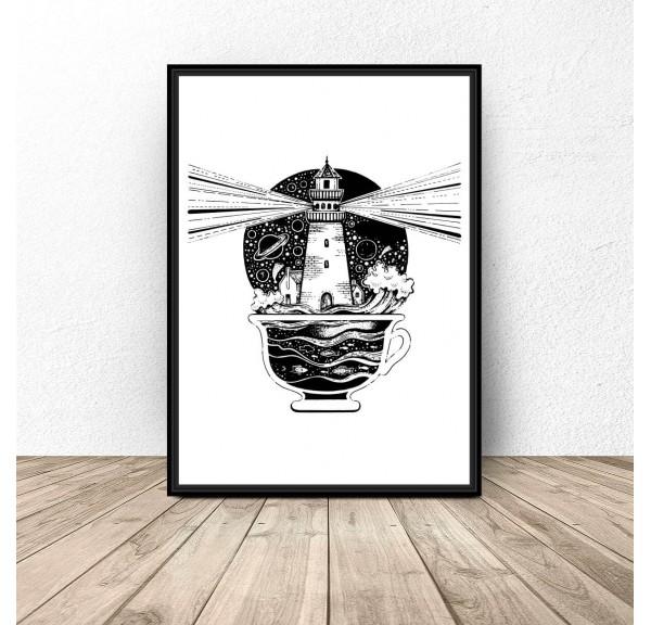 Plakat abstrakcyjny Latarnia w filiżance