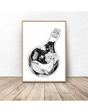 Plakat abstrakcyjny Wieloryb w butelce