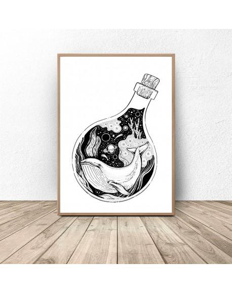 """Plakat abstrakcyjny """"Wieloryb w butelce"""""""