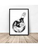 Plakat abstrakcyjny Wieloryb w butelce 2