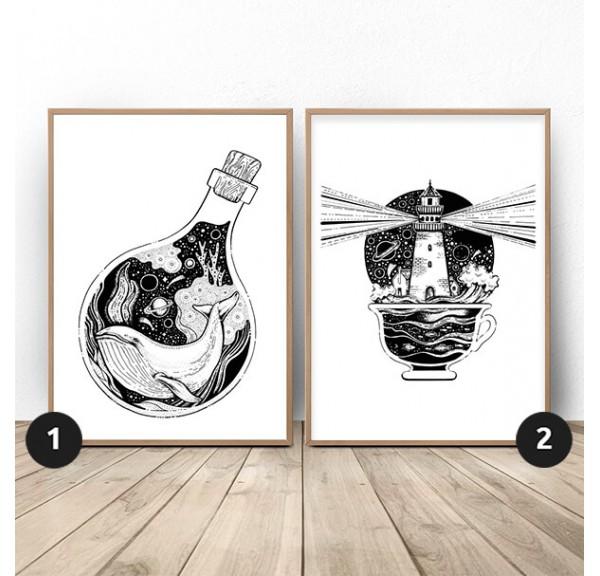 Zestaw dwóch plakatów Wieloryb i latarnia