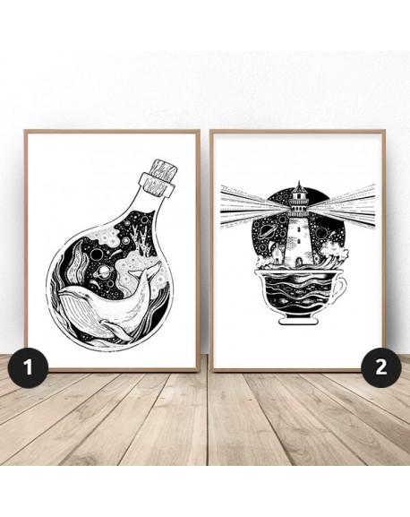"""Zestaw dwóch plakatów """"Wieloryb i latarnia"""""""