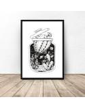 Plakat abstrakcyjny Balon kaktus w słoiku