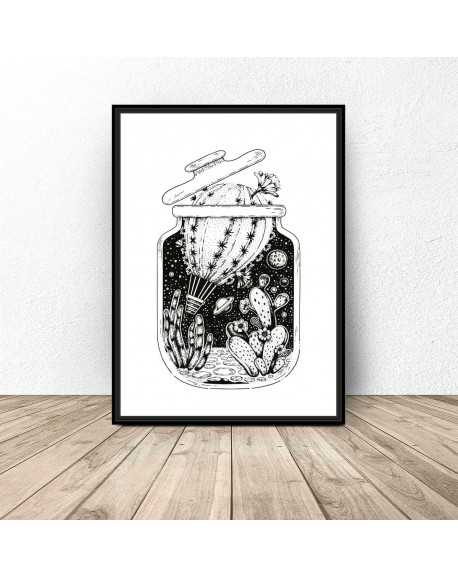 """Plakat abstrakcyjny """"Balon kaktus w słoiku"""""""