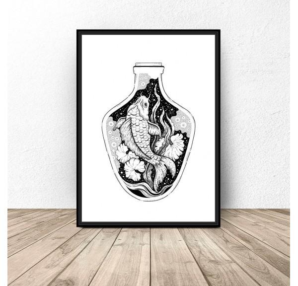 Plakat abstrakcyjny Rybka w wazonie