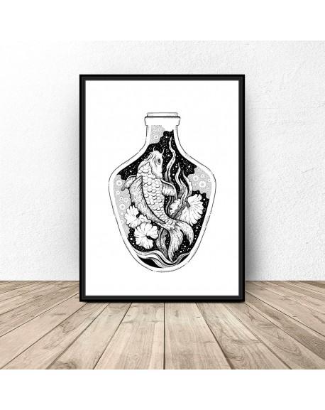 """Plakat abstrakcyjny """"Rybka w wazonie"""""""