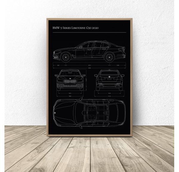Plakat z samochodem BMW 5 G30 2020
