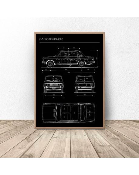 Plakat z samochodem FIAT 125p