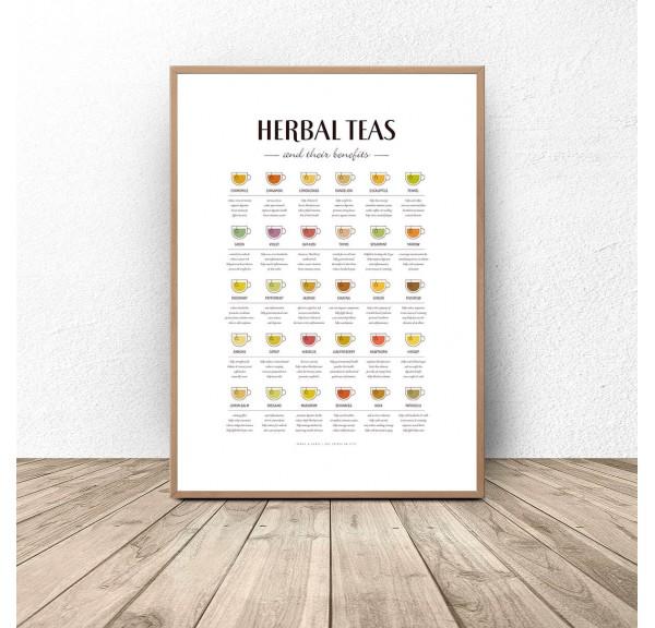 Plakat przewodnik do kuchni Rodzaje herbaty