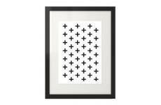 """Plakat na ścianę w krzyżyki """"Swiss cross"""" w czarnej ramie na plakat"""