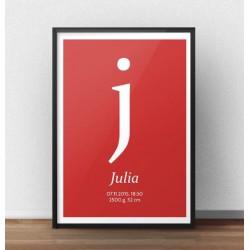 Plakat metryczka dla dziecka z czerwonym tłem i małą literką