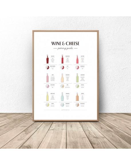 "Plakat przewodnik do kuchni ""Wino i sery"""