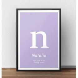 Plakat metryczka dla dziecka z wrzosowym tłem i małą literką