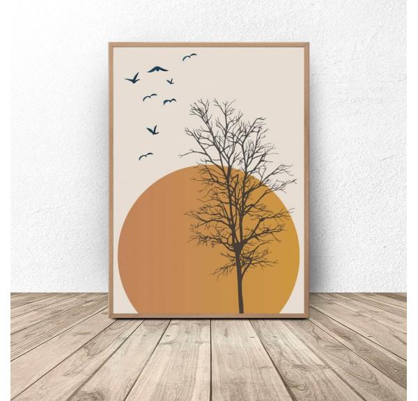 Plakat na ścianę Drzewo na tle zachodu słońca