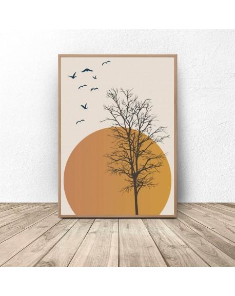 """Plakat na ścianę """"Drzewo na tle zachodu słońca"""""""