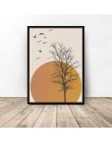 Plakat na ścianę Drzewo na tle zachodu słońca 2
