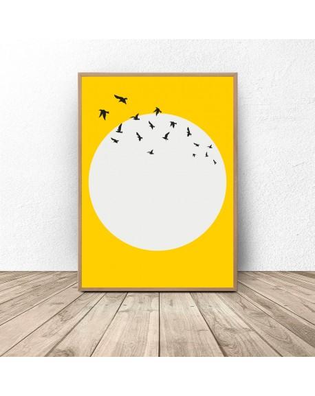 """Plakat na ścianę """"Ptaki na tle słońca"""""""