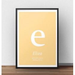 Plakat metryczka dla dziecka z jasnopomarańczowym tłem i małą literką