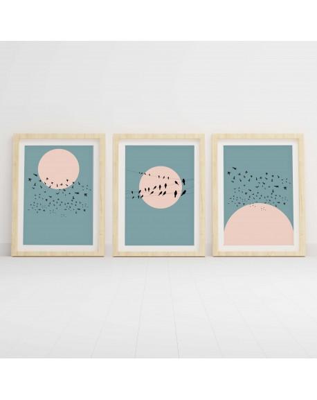 Zestaw 3 plakatów z ptakami i księżycem