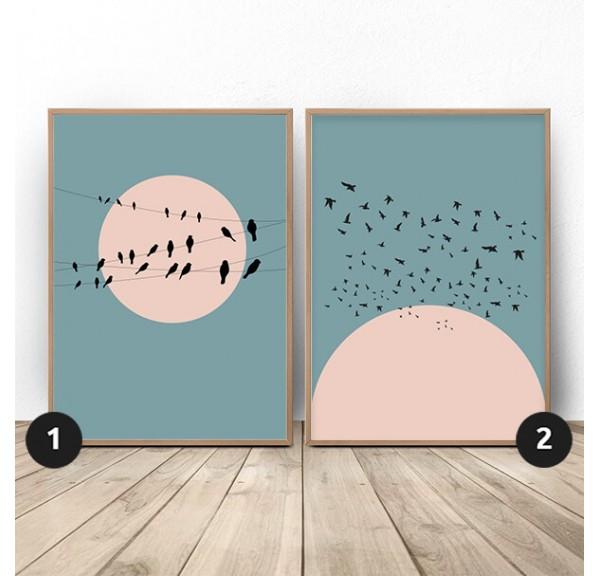 Zestaw dwóch plakatów Księżyc z ptakami