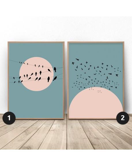 """Zestaw dwóch plakatów """"Księżyc z ptakami"""""""