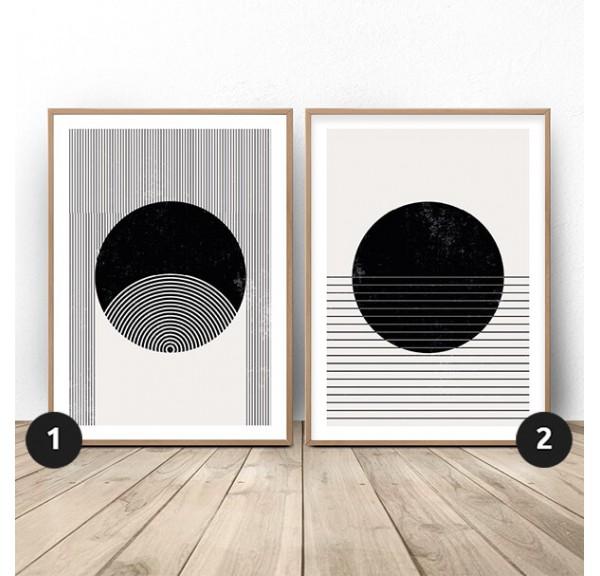 Zestaw dwóch plakatów abstrakcyjnych Paski i koła