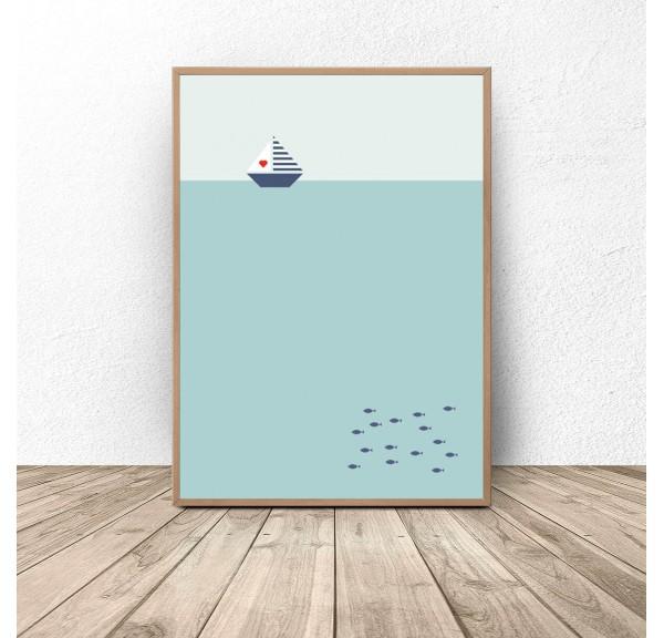 Plakat ilustracja Łódka o świcie