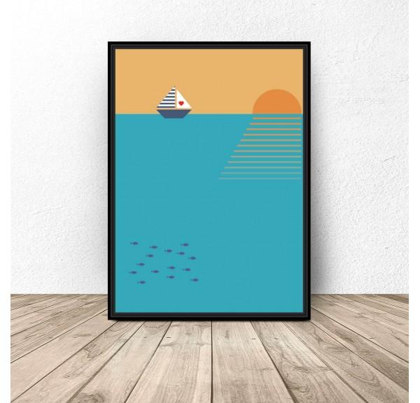 Plakat ilustracja Łódka o zachodzie słońca