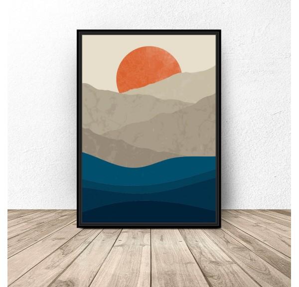 Plakat ilustracja Górski zachód słońca