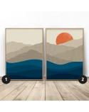 Zestaw dwóch plakatówZachód słońca w górach