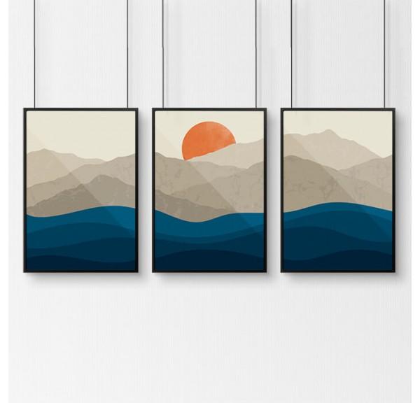 Zestaw trzech plakatów Górski zachód słońca